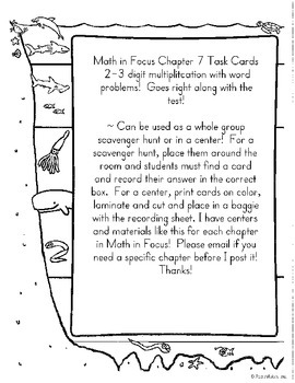 2/3 Digit Multiplication Task Cards- Math in Focus Chapter