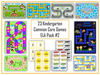 23 ELA Kindergarten Folder Games - Common Core Pack #2 -  Word Work Centers!