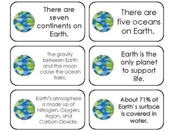 23 Earth Printable Planetary Facts Flashcards. Astronomy