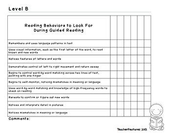 Guided Reading Assessment with Guided Reading Checklists
