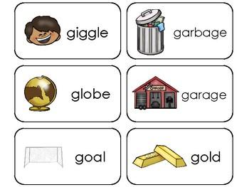 23 Letter Gg Printable Picture and Word Flashcards. Preschool-Kindergarten