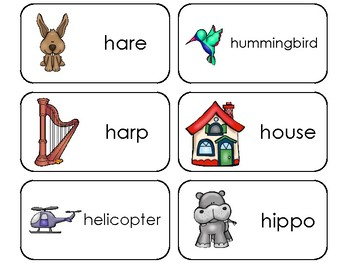 23 Letter Hh Printable Picture and Word Flashcards. Preschool-Kindergarten