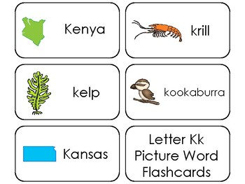 23 Letter Kk Printable Picture and Word Flashcards. Preschool-Kindergarten