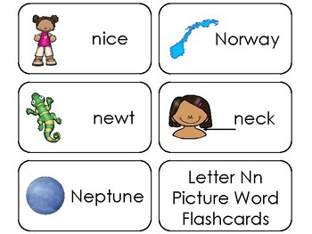23 Letter Nn Printable Picture and Word Flashcards. Preschool-Kindergarten