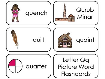 23 Letter Qq Printable Picture and Word Flashcards. Preschool-Kindergarten
