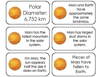 23 Mars Printable Planetary Facts Flashcards. Astronomy