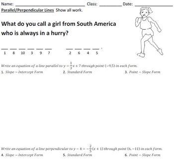 23 Math Jokes Worksheets for Pre-Algebra and Algebra.