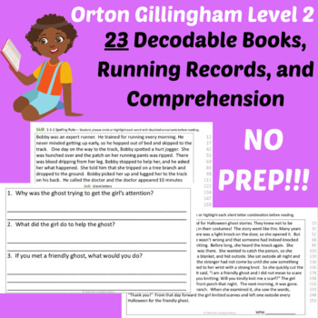 23 Orton Gillingham Decodable Phonics Stories and Running Records-Level 2