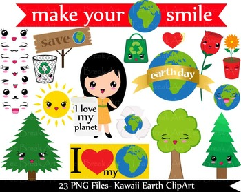 23 PNG Files- Kawaii earth day/ Kawaii nature- Digital Clip Art (142)