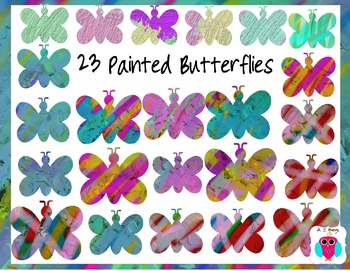 23 Painted Butterfly Clip Arts- Commercial Use Ok