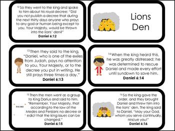 23 Printable Daniel and the Lions Den Flashcards. Preschool-Kindergarten Bible C