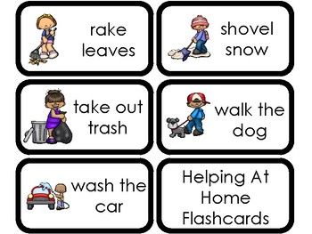 23 Printable Helping At Home Flashcards. Chores and Responsibilities.