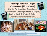 23 Seating Charts for the Large Classroom, Black & White & Color.