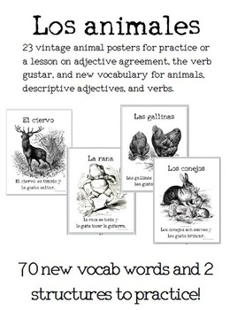 23 Vintage Animals Posters for Spanish Learners: Adjective Agreement