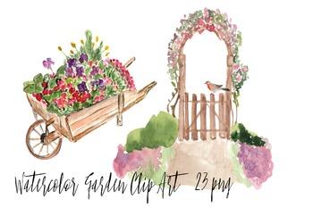 23 Watercolor Garden Clip Art