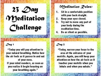 23 Day Meditation Challenge - Daily Meditation Prompts