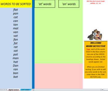 23 digital and print word sorts, single syllable, short vowel family