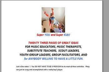 23 pages of Music Activities for ALL Teachers of young kids! 48 Activities