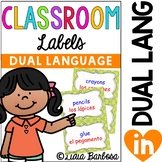 DUAL LANGUAGE 232 Classroom Labels in Green Polka Dots