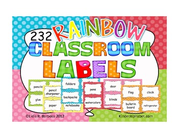 232 Rainbow Classroom Labels {ENGLISH}