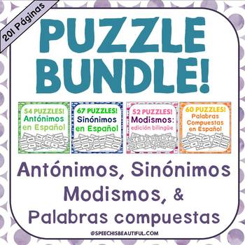 233 PUZZLES Antonyms, Synonyms, Idioms, and Compound Words in Spanish - NO PREP!