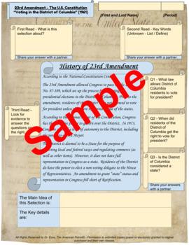 "23rd Amendment - ""Voting in D.C."" - Enhanced DBQ - Close Read (PDF)"