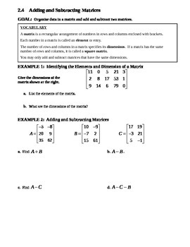 2.4 Adding and Subtracting Matrices