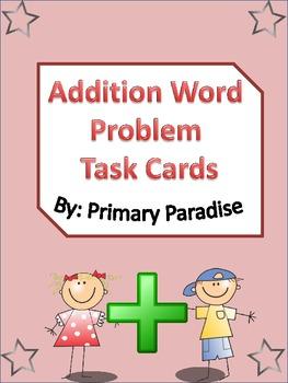 Addition Word Problem Task Cards 24 total