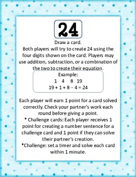 Addition and Subtraction Challenge Center