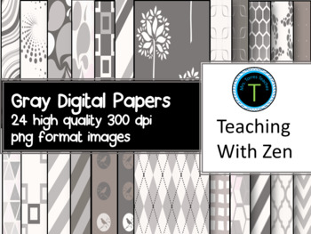 24 Beautiful Gray, silver and white digital papers