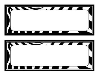 24 Blank Center and Bulletin Board Signs (Zebra and Hot Pink Themed)