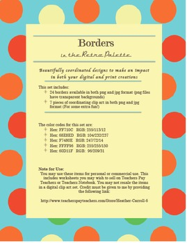 24 Borders + 7 Clip Art Pieces! (Retro Color Palette) Personal & Commercial Use