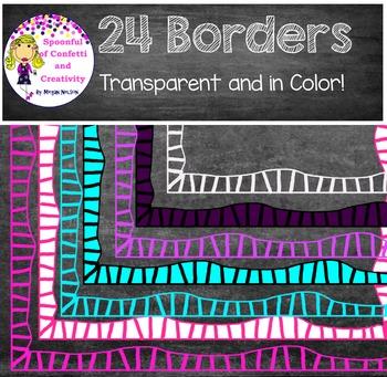 24 Borders!  Transparent and in Color {Confetti and Creati