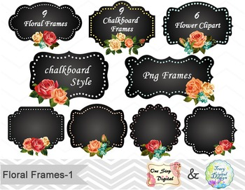 24 Chalkboard Digital Frame Clip Art Floral Frame Flower Label Clip Art 00156