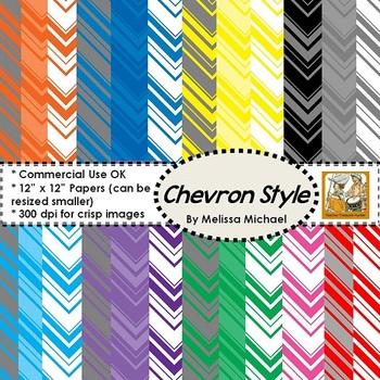 24 Chevron Style Papers ~ 300 DPI ~ 12x12 CU/PU