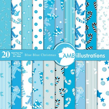 Digital papers - Christmas digital paper in blue Traditional Patterns, AMB-428