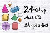 24 Clip Art 3D Shapes Set