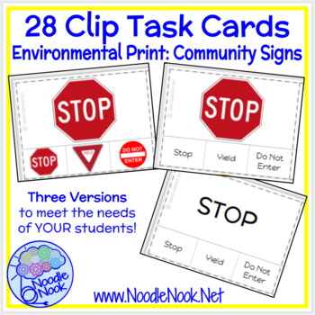 28 Clip Task Cards for Community Signs for Autism or Early Elem.