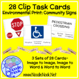 24 Clip Task Cards for Community Signs for Autism or Early Elem.