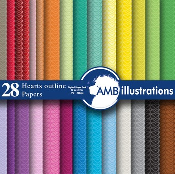 Digital Papers, Heart papers, Valentines papers and backgrounds  AMB-324