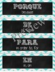 24 Common Spanish Vocabulary Word Wall Labels - Chevron Theme
