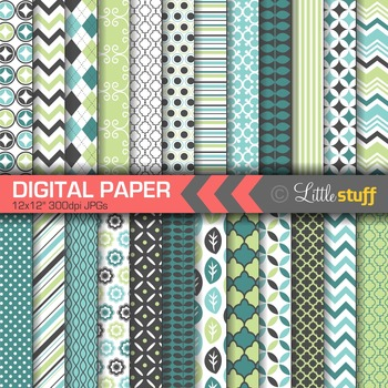 24 Coordinating Digital Papers, Digital Backgrounds, Geometric Patterns