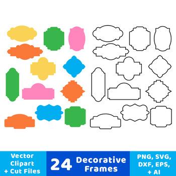 24 Decorative Frames Clipart, Outline Frames, Filled Frames, Borders, Labels