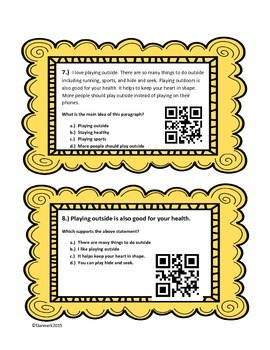 24 Differentiated Main Idea and Key Detail Questions Task Cards: QR code option!