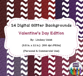 24 Digital Glitter Backgrounds - Valentine's Day - Chevron and Solid Papers
