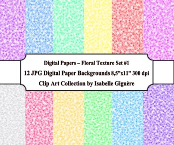 Digital Papers Background - 24 Floral Texture Pack Sets #1-2 (Commercial Use)
