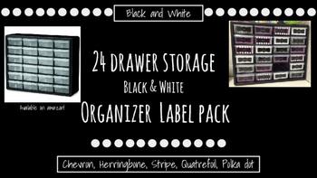 24-Drawer Chevron,Herringbone,Polka dots,Stripes,Quatrefoil Labels Black & White
