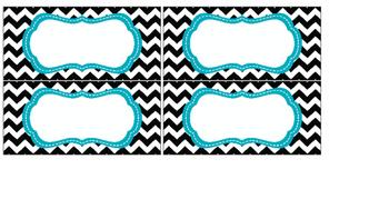 24-Drawer Chevron,Herringbone,Polka dots,Stripes,Quatrefoil Labels Aqua & Black