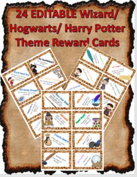 24 EDITABLE Wizard Hogwarts Harry Potter Reward Cards - Classroom Management