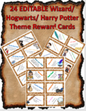 24 EDITABLE Wizard Hogwarts Harry Potter Reward Cards - Cl